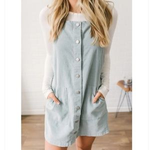 Dresses & Skirts - Sky Blue Corduroy Overall Dress-- Sizes SML